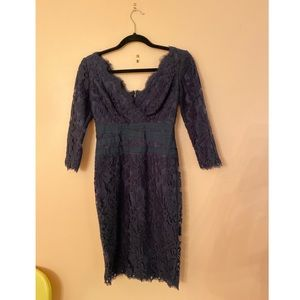 💙Tadashi Shoji 3/4 sleeve lace cocktail dress